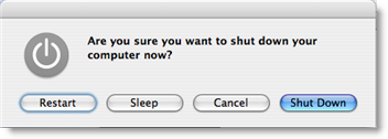 OS X's shutdown options